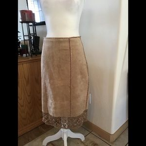 Suede Leather Skirt Maxi.